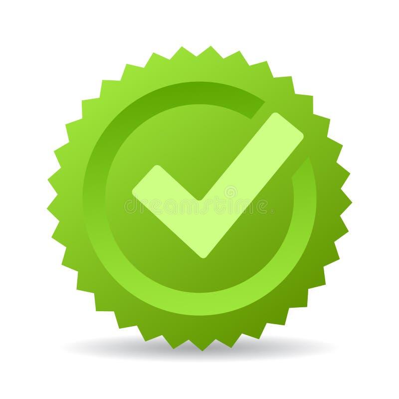 Emblema verde do vetor da marca de verificação ilustração royalty free