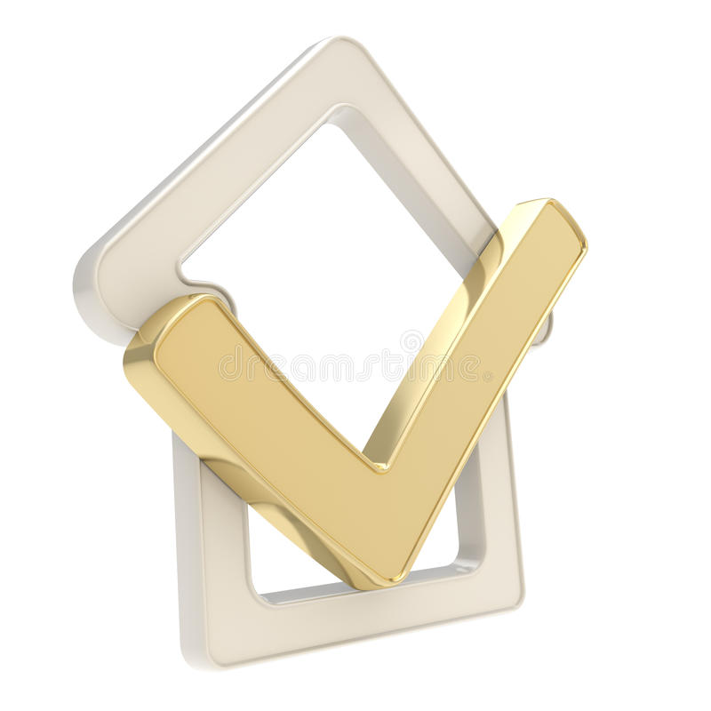 Emblema verificado da casa com ícone do tiquetaque do yes para dentro ilustração stock