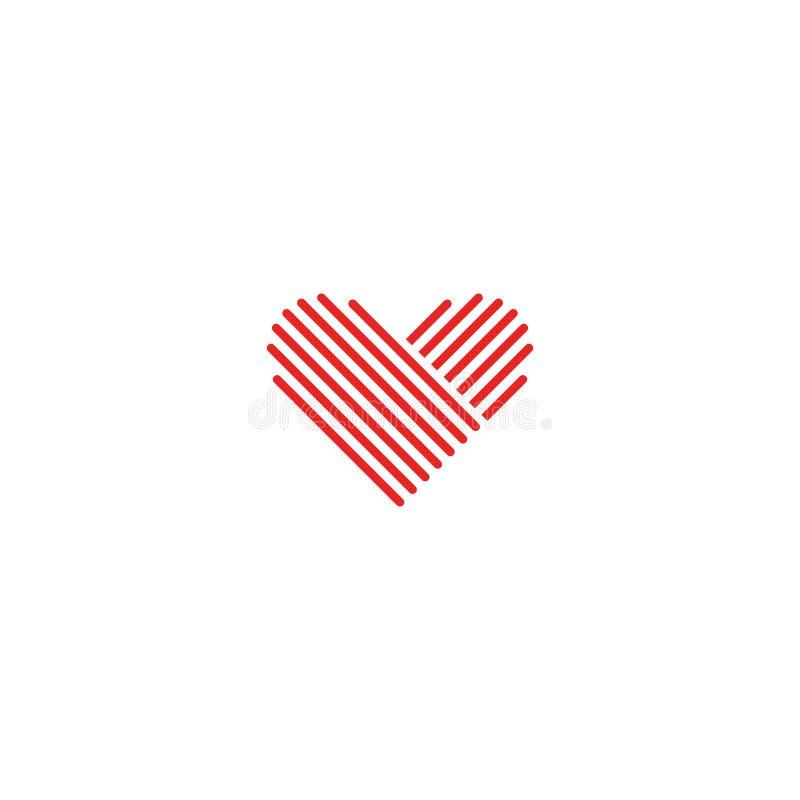 Emblema vermelho médico do logotipo do coração, sinal do casamento do elemento do projeto, linha fina romântica monograma do mode ilustração royalty free
