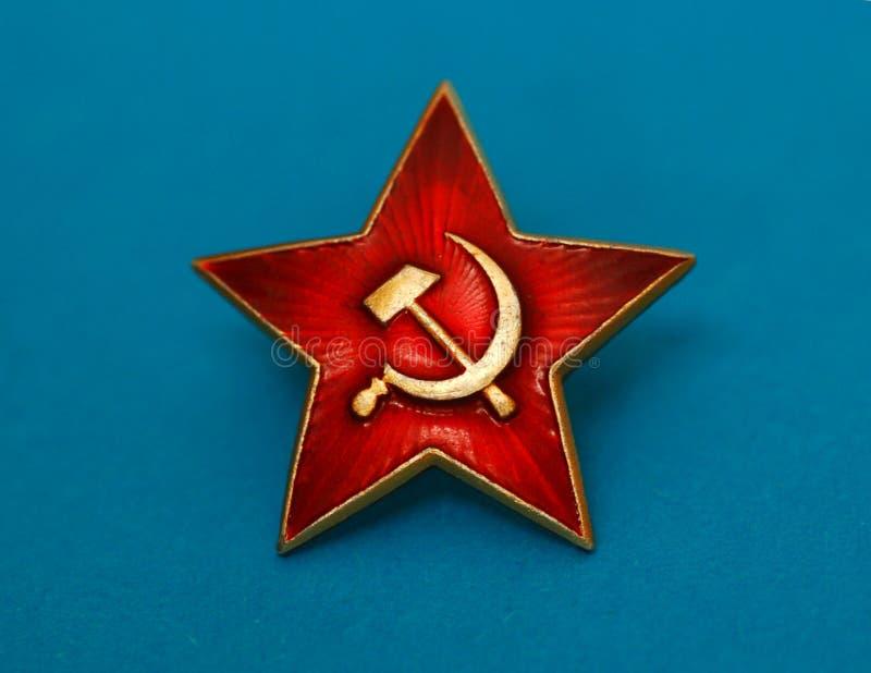 Emblema vermelho soviético da estrela foto de stock royalty free