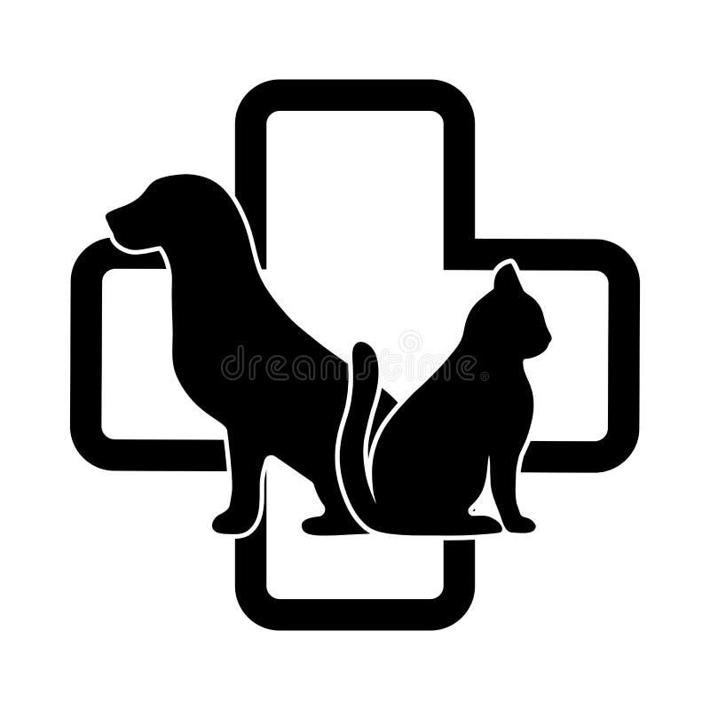 Emblema veterinario de la clínica con el gato y el perro en el fondo de una cruz médica libre illustration