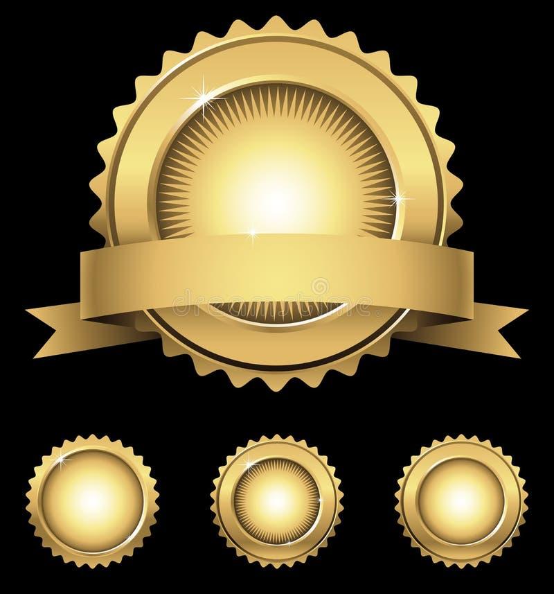 Emblema y sellos brillantes del oro ilustración del vector