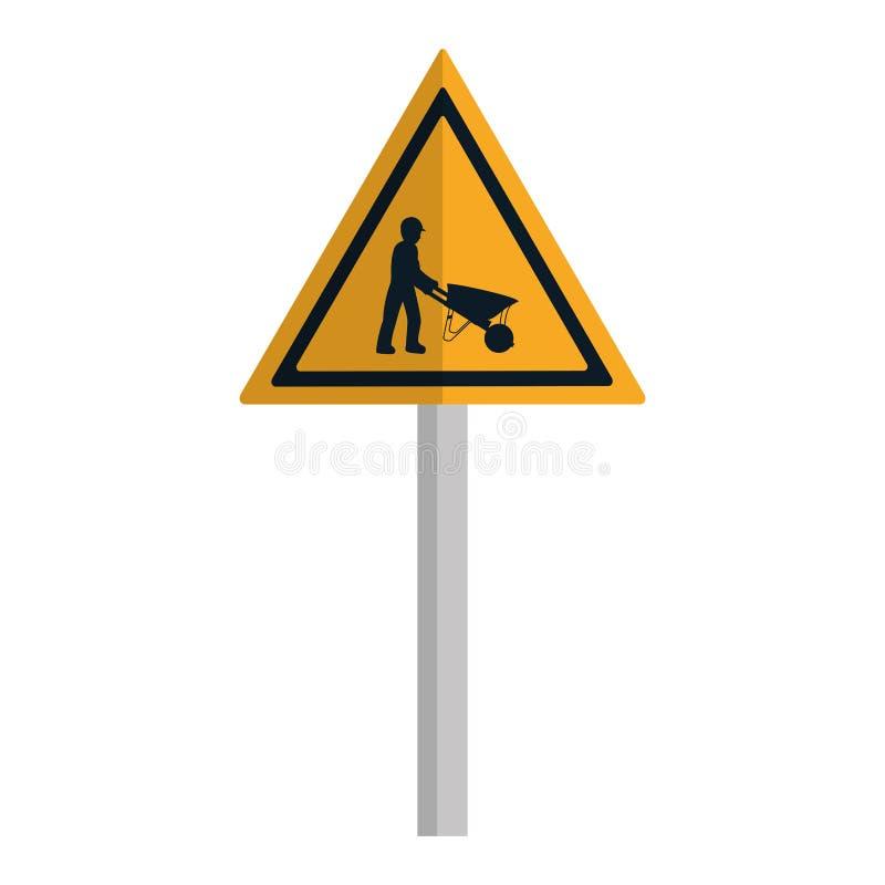 Emblema y trabajador de la precaución del triángulo con la carretilla stock de ilustración