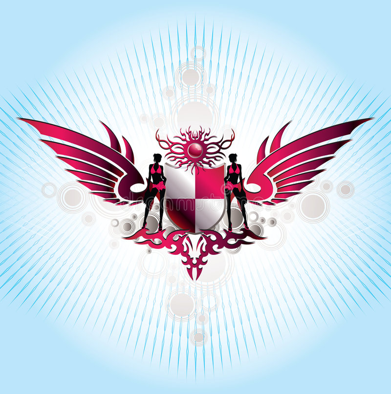 Emblemas abstractos del fondo w ilustración del vector