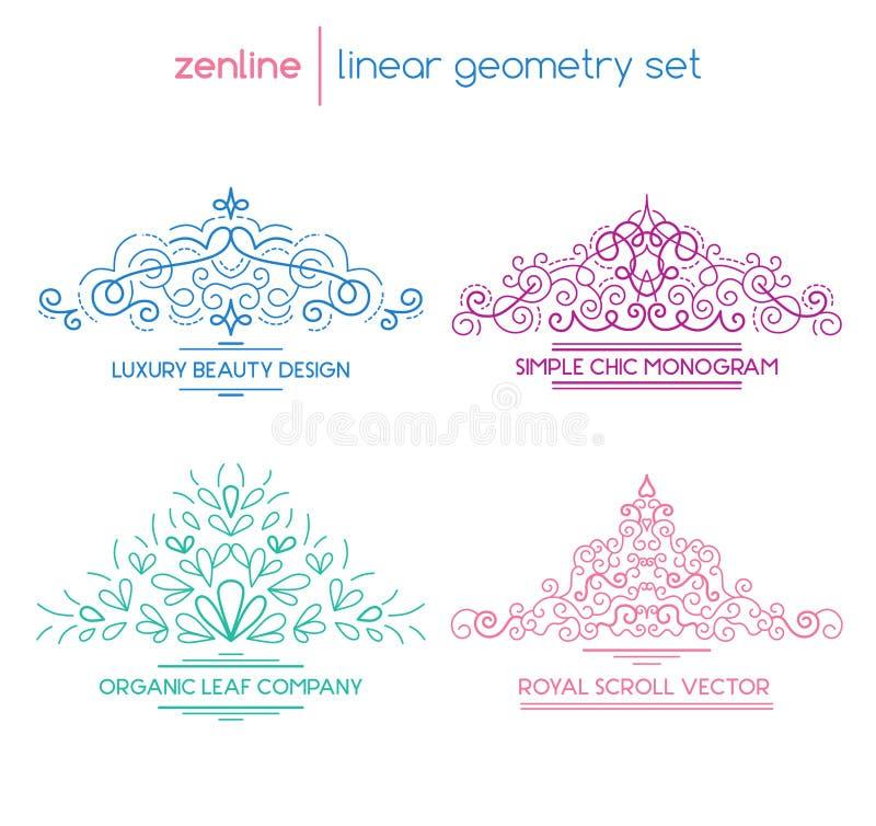 Emblemas abstractos lineares del vector stock de ilustración