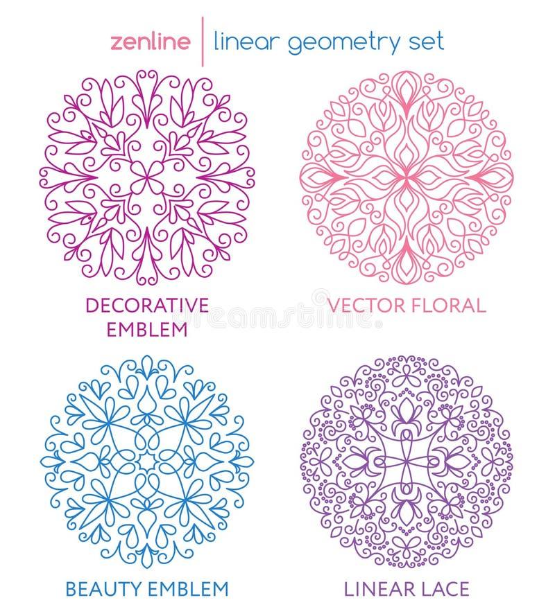 Emblemas abstratos lineares do vetor ilustração stock