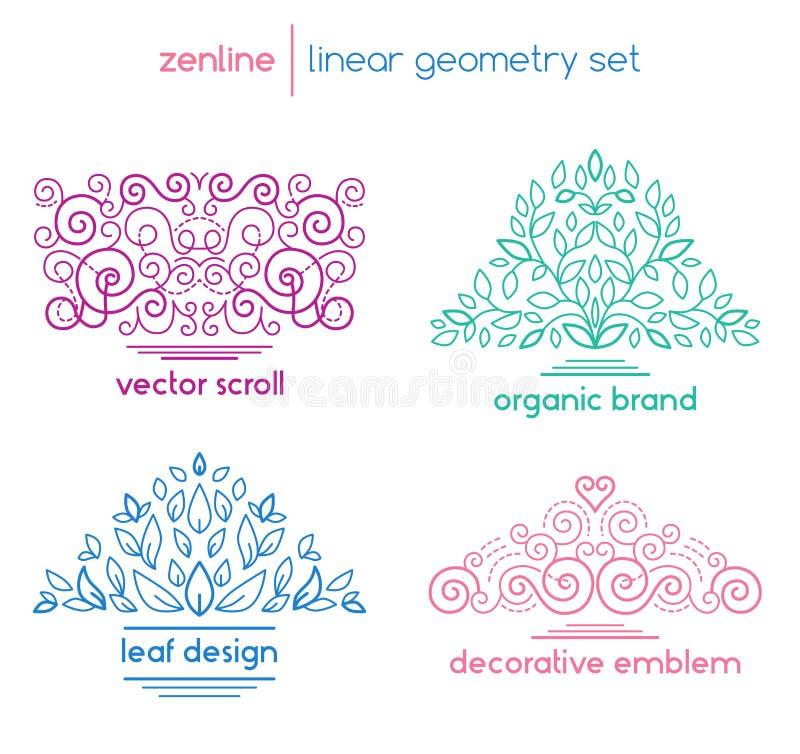 Emblemas abstratos lineares do vetor ilustração do vetor