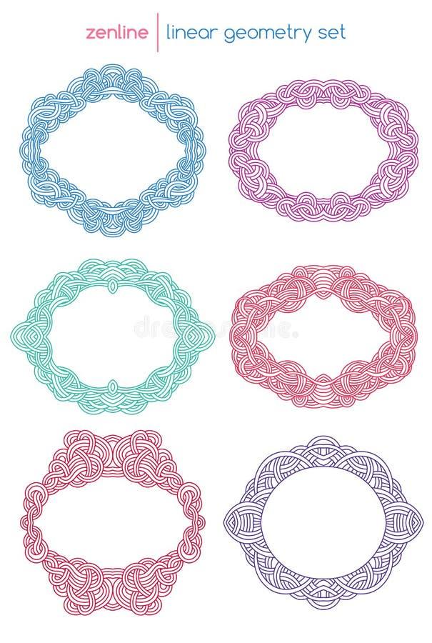 Emblemas abstratos lineares do vetor ilustração royalty free