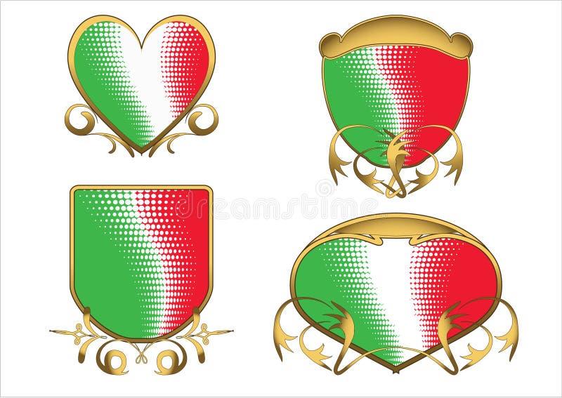 Emblemas antigos tricolor italianos ilustração royalty free