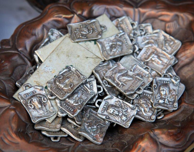 Emblemas astrológicos antigos do sinal fotografia de stock royalty free
