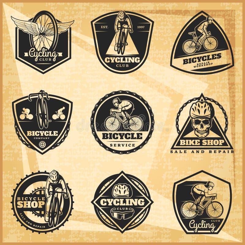 Emblemas Biking pretos ajustados ilustração royalty free