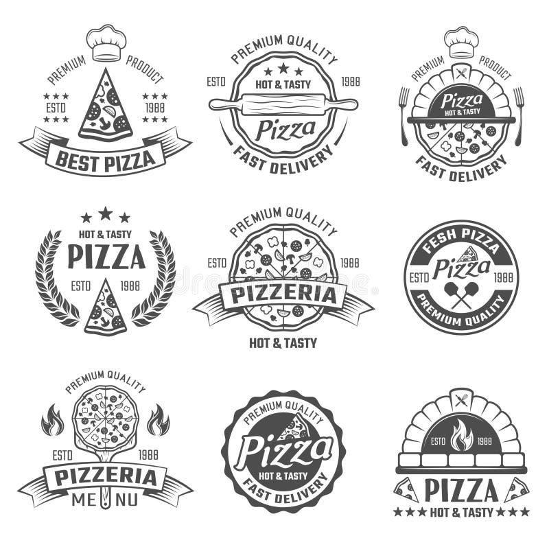 Emblemas blancos negros de la pizzería stock de ilustración
