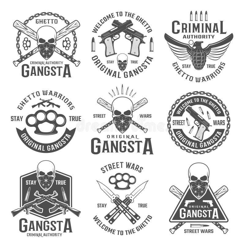 Emblemas blancos negros del gángster ilustración del vector