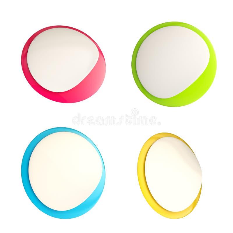 Emblemas brillantes del icono de la etiqueta engomada del botón stock de ilustración