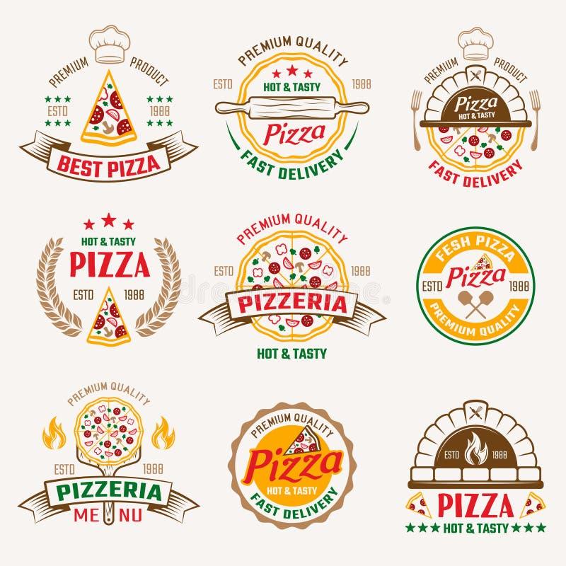 Emblemas coloreados pizzería libre illustration
