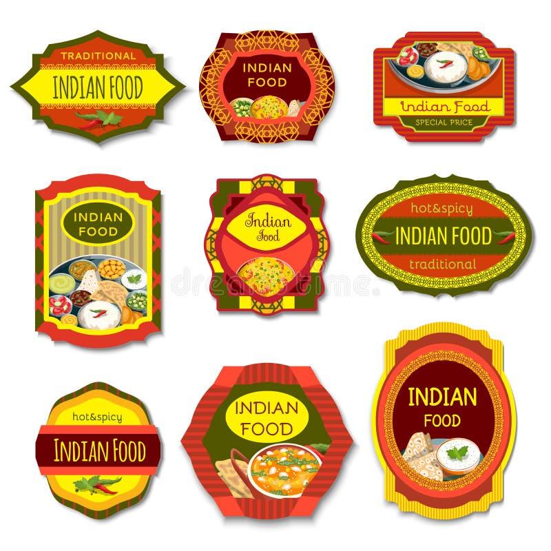 Emblemas coloridos de la comida india stock de ilustración