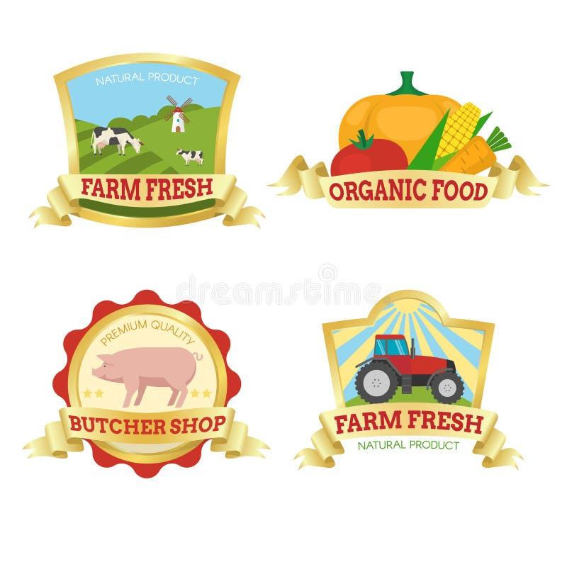 Emblemas coloridos do alimento da exploração agrícola ilustração do vetor
