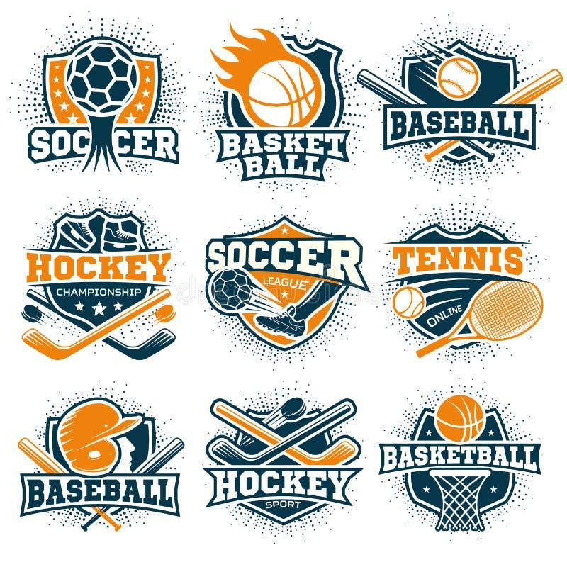 Emblemas coloridos do esporte ajustados ilustração stock