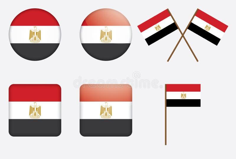 Emblemas com a bandeira de Egipto ilustração stock