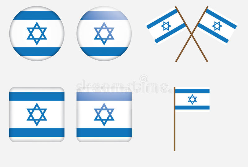 Emblemas com a bandeira de Israel ilustração stock