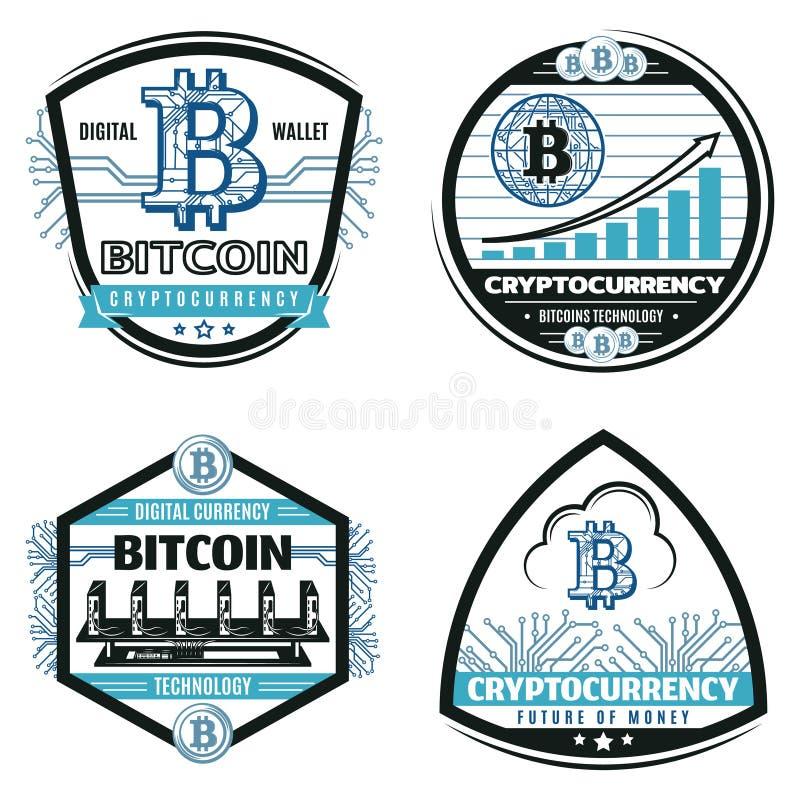 Emblemas criptos coloridos vintage da moeda ajustados ilustração royalty free