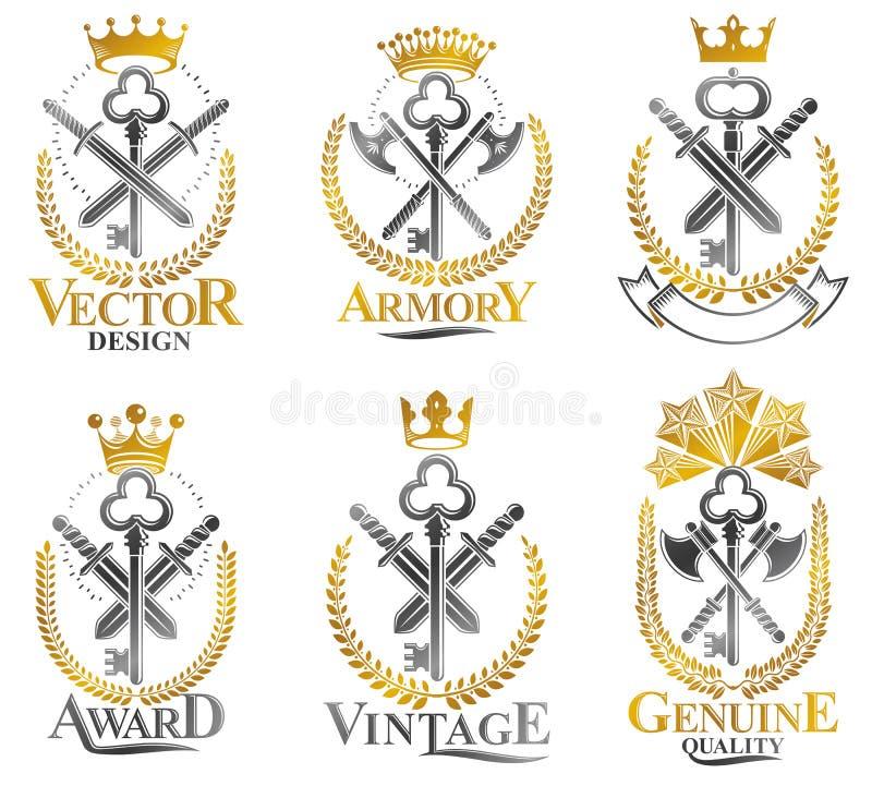 Emblemas da arma do vintage ajustados Colle dos elementos do projeto do vetor do vintage ilustração stock