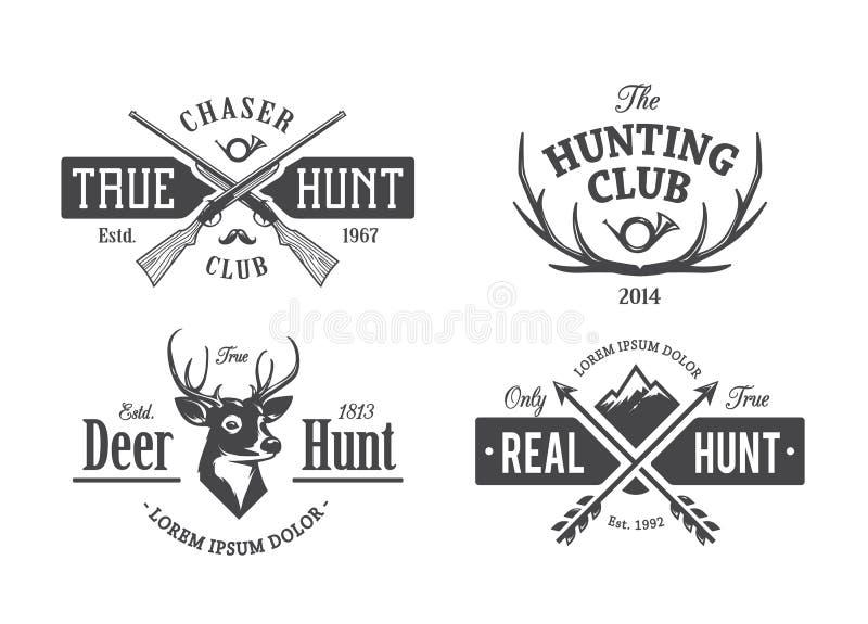 Emblemas da caça do vintage ilustração do vetor