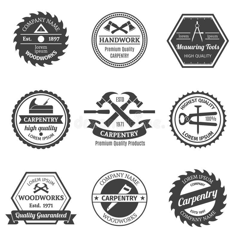 Emblemas da carpintaria ajustados ilustração stock