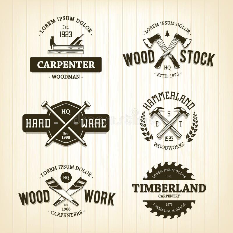 Emblemas da carpintaria do vintage ilustração do vetor