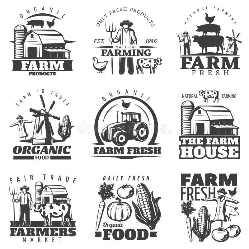 Emblemas da casa da exploração agrícola ajustados ilustração stock