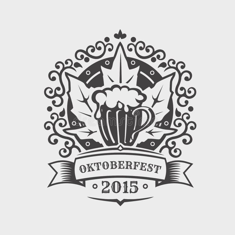 Emblemas da cerveja Projeto de Oktoberfest ilustração royalty free