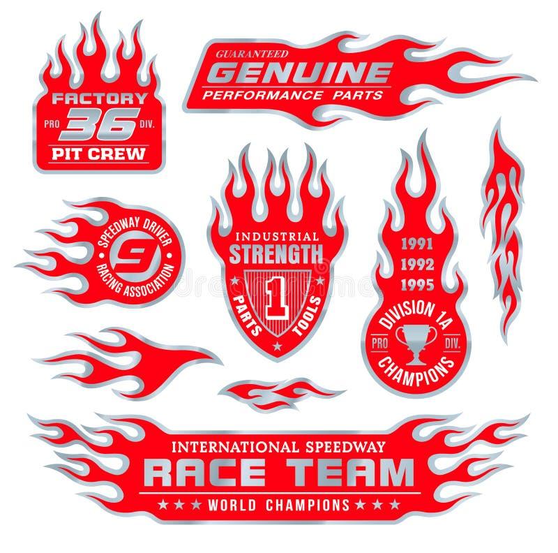 Emblemas da chama ajustados ilustração royalty free
