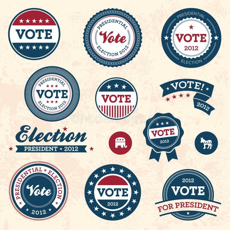 Emblemas da eleição do vintage ilustração stock