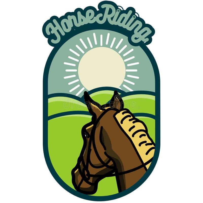 Emblemas da equitação do vintage da cor ilustração royalty free