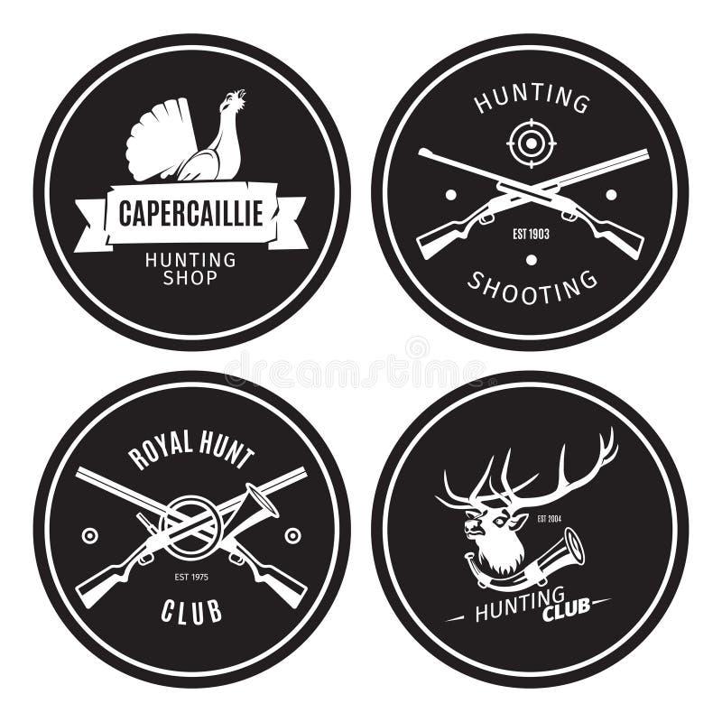 Emblemas da loja da caça do vintage ilustração do vetor