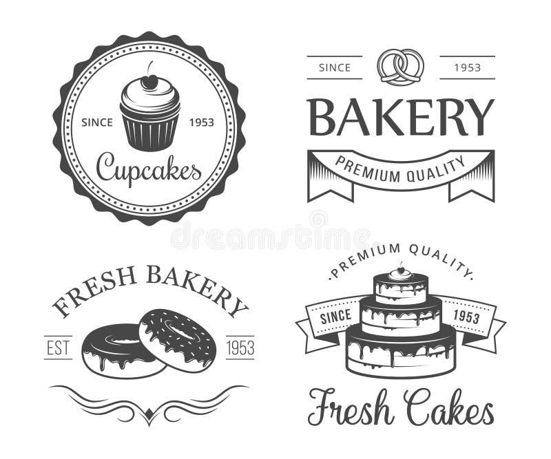 Emblemas da padaria ilustração stock
