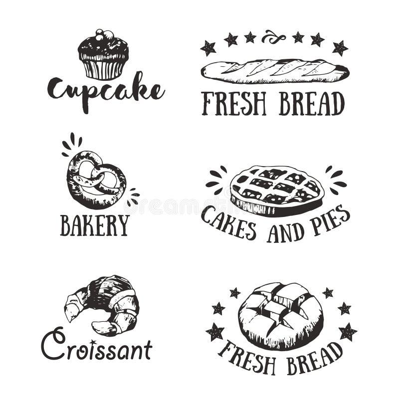 Emblemas da padaria e da loja de pastelaria, ícones ilustração do vetor