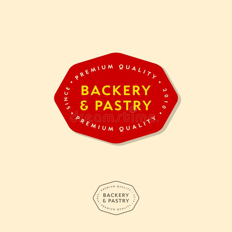 Emblemas da padaria, logotipo da padaria Rotulação e inscrição em um crachá vermelho ilustração stock