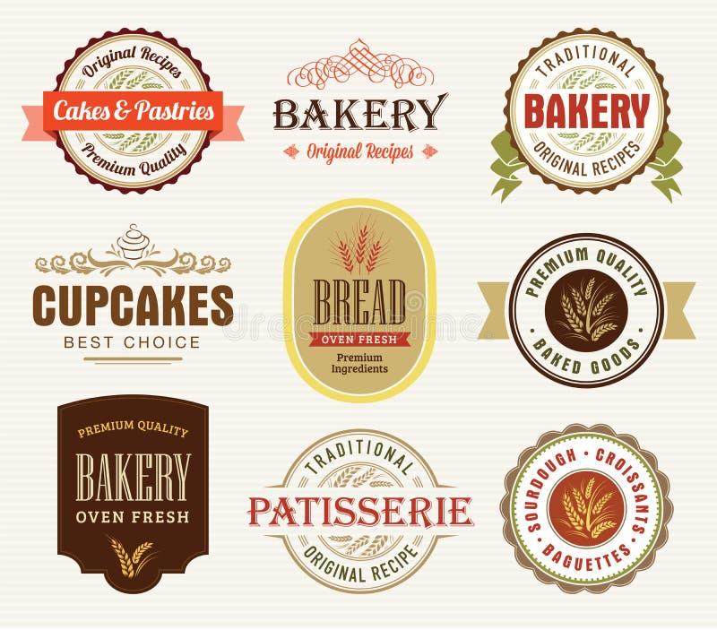 Emblemas da padaria, selos ilustração do vetor