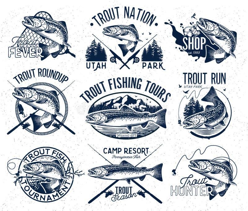 Emblemas da pesca da truta do vintage ilustração stock
