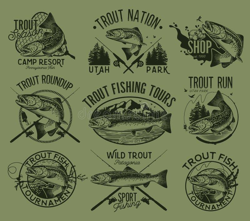 Emblemas da pesca da truta do vintage ilustração royalty free