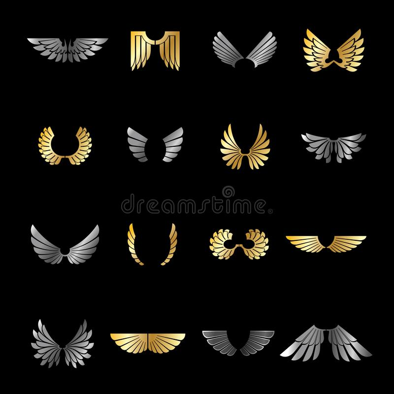 Emblemas das asas da liberdade ajustados Ilustra??es isoladas do vetor da bras?o logotipos decorativos her?ldicos ilustração stock