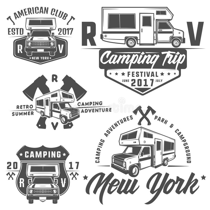 Emblemas das caravana das camionetes de campista dos veículos recreativos dos carros do rv, logotipo, sinal, elementos do projeto fotos de stock royalty free