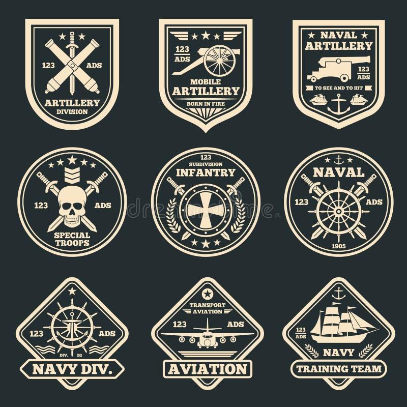 Emblemas das forças armadas do vintage e do vetor do exército, crachás e etiquetas ilustração stock