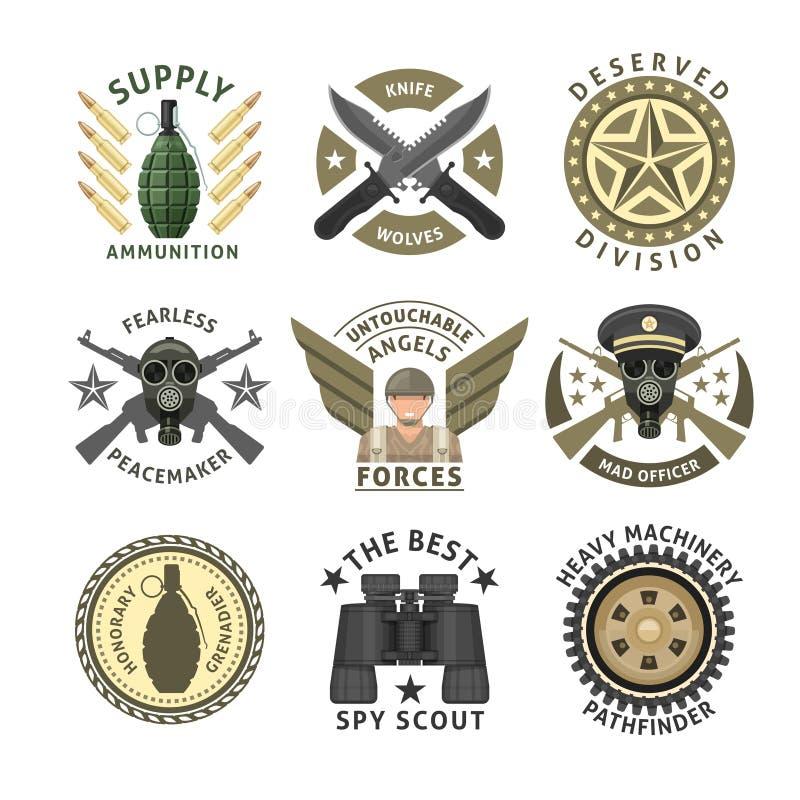 Emblemas das unidades militares ilustração stock