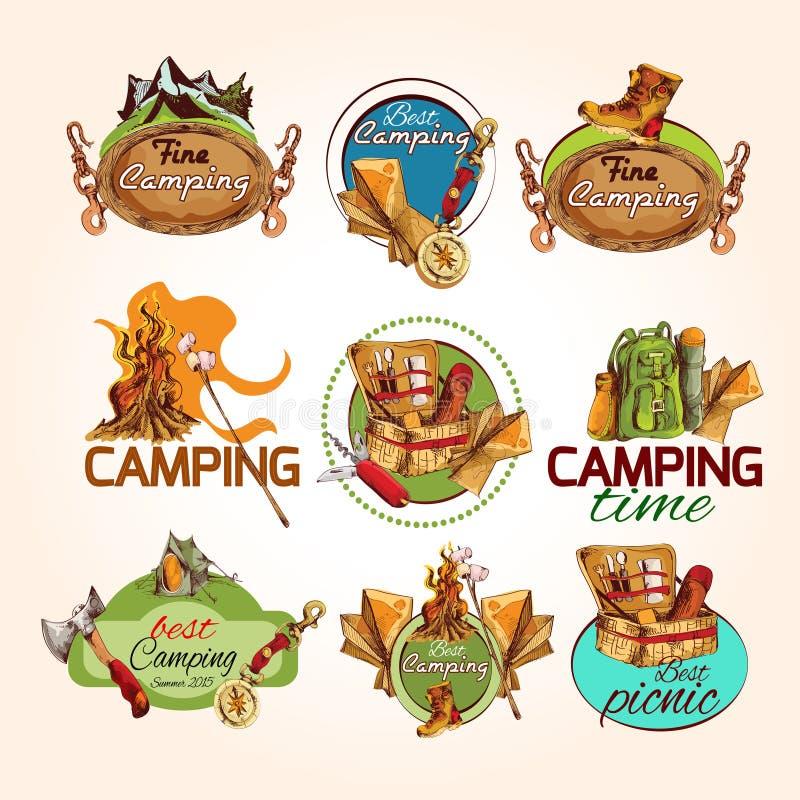 Emblemas de acampamento do esboço ilustração do vetor