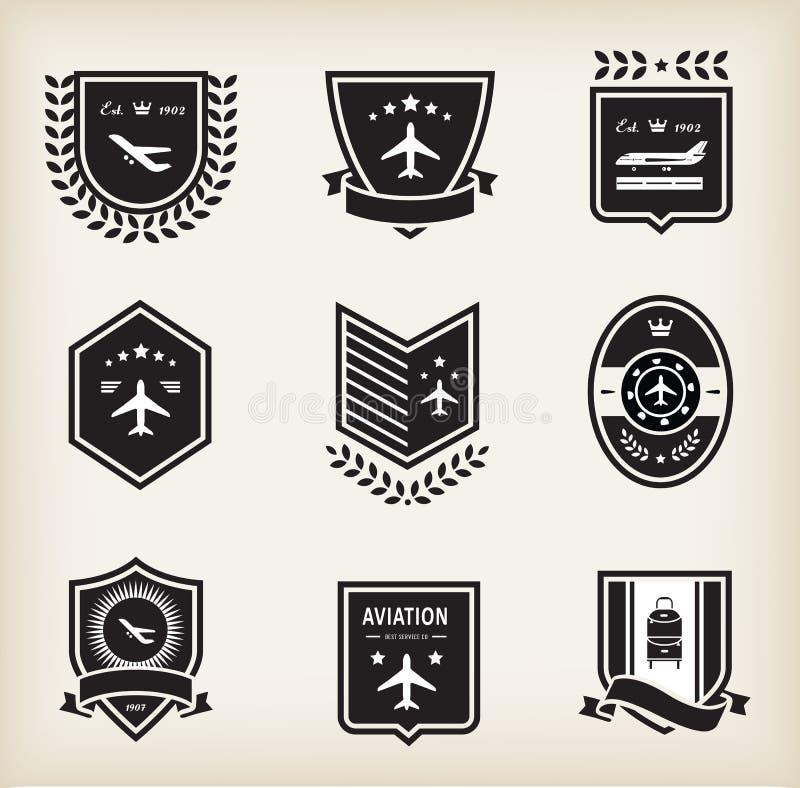 Emblemas de aviação planos ilustração do vetor