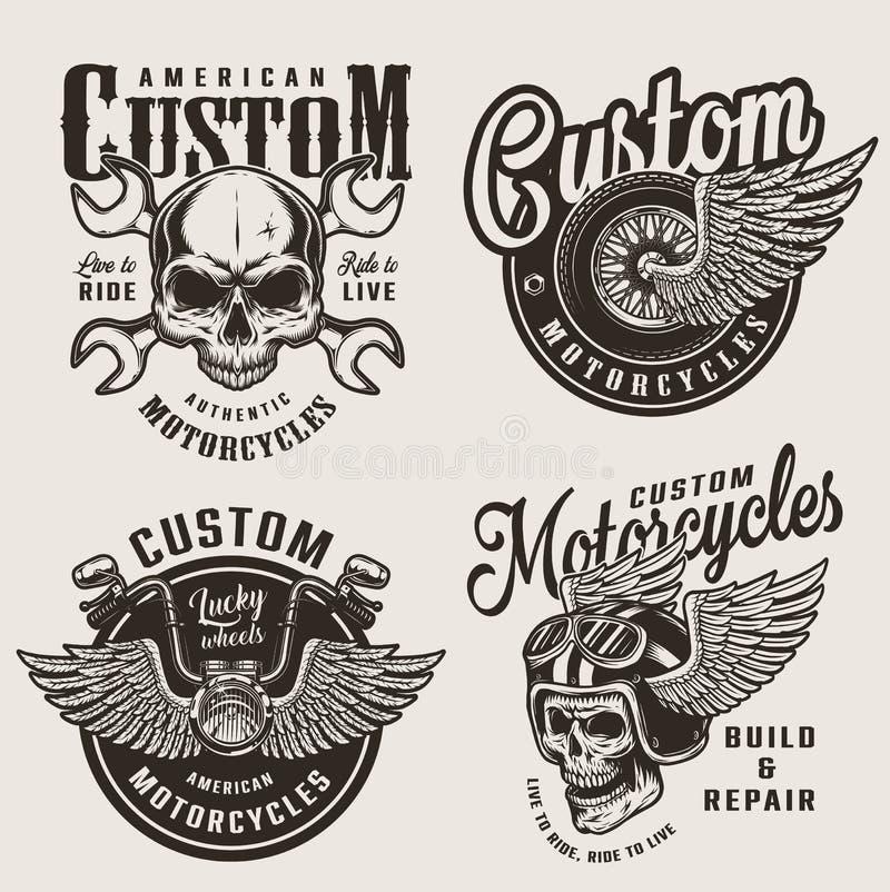 Emblemas de encargo de la motocicleta del vintage stock de ilustración