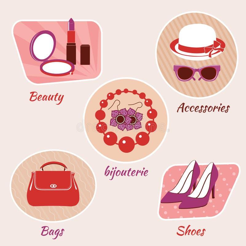 Download Emblemas De La Belleza De La Mujer Ilustración del Vector - Ilustración de cosméticos, boots: 42436087
