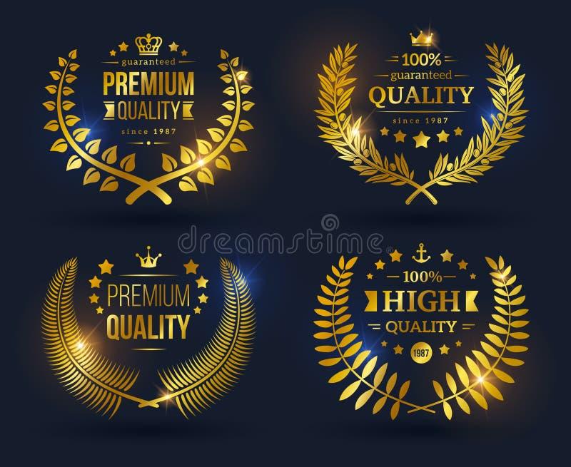 Emblemas de la calidad del vector con la guirnalda del laurel libre illustration